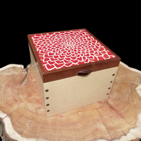 Wooden Marquetry Jewellery Box Red Chrysanthemum