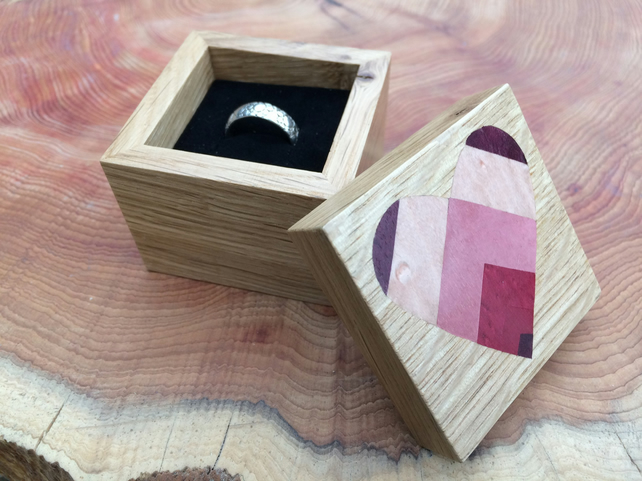 Pink Heart Wooden Ring Box