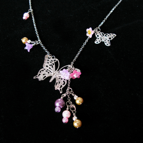 Butterflies and Flowers Necklace