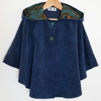 Peacock Feather Corduroy Cape