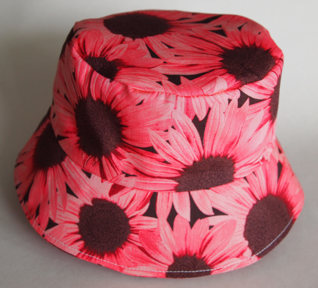 SALE - Junior Sun Hat Pink Sunflower