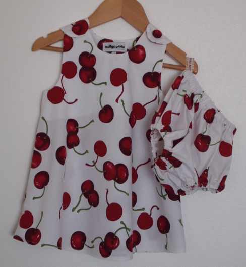 SALE - Summer Cherry Baby Dress and Bloomers