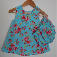 SALE - Garden Party Floral Summer Baby Dress and Bloomers