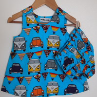 Camper Van Summer Baby Dress and Bloomers