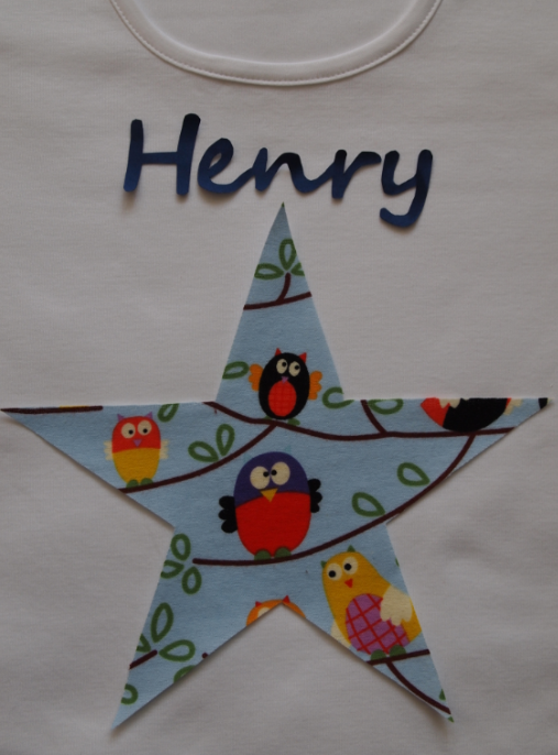 REDUCED Pyjamas, Personalised with Childrens Names & a Blue Owl Star Trim