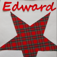 Pyjamas, Personalised with Childrens Names & a Red Star Tartan Trim