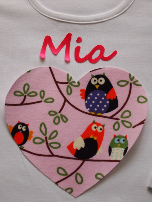 Pyjamas, Personalised with Childrens names & a Pink Owl Heart Trim