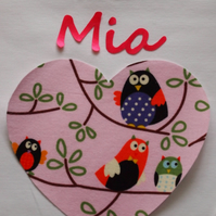 REDUCED Pyjamas, Personalised with Childrens names & a Pink Owl Heart Trim