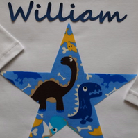 Pyjamas, Personalised with Childrens names & a Blue Dinosaur Star Trim