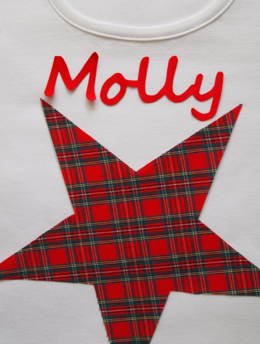 Pyjamas, Personalised with Childrens names & Red Star Tartan Trim
