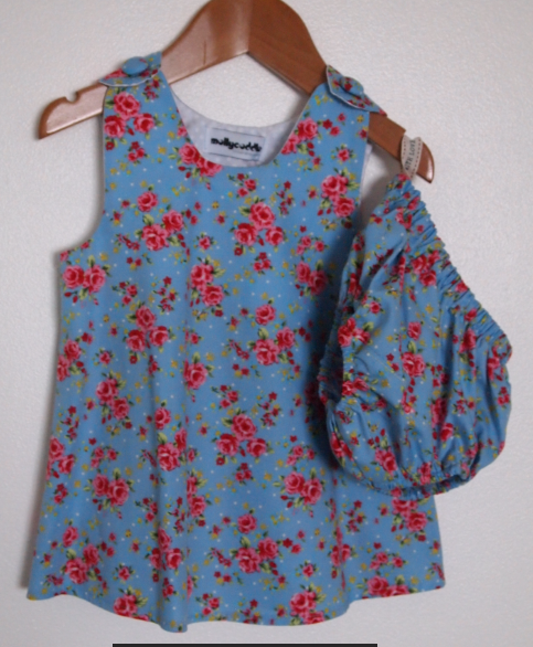 SALE - Twee Floral Baby Blue Summer Dress and Bloomers