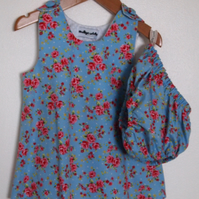 Twee Floral Baby Blue Summer Dress and Bloomers
