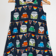 SALE - Festival Chic Camper Van Summer Navy Dress