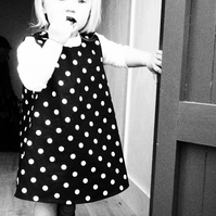 Classic Polka Dot Navy Summer Dress for Girls