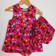 SALE - Cerise Pink Liquorice Allsorts Baby Dress and Bloomers