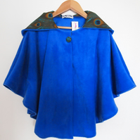 'For Grown Ups' Peacock Feather Lined Hood, Soft Fleece Royal Blue Cape