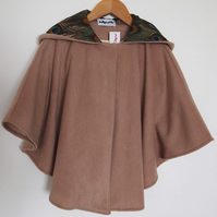'For Grown Ups' Peacock Feather Lined Hood, Soft Fleece Camel Cape