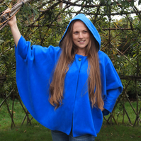 Peacock Feather Hood, Royal Blue Cape