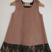 Beige Fleecy Peacock Feather Pinafore Dress