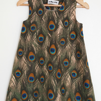 Beige Peacock Feather Pinafore Dress