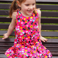 Cerise Pink Liquorice Allsorts Candy Sweet Summer Dress