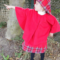 Soft Red Riding Hood Fleece Cape with Tartan Trim