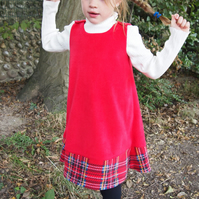 SALE - Red Fleece Tartan Pinafore Dress
