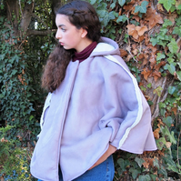 Faux Suede Lilac Shearling Cape