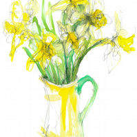 Daffodils in a yellow jug with a green handle  - poster print