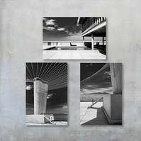 Three Black and White Le Corbusier Architecture Photographs