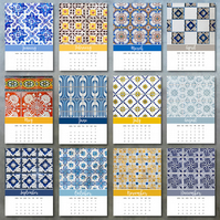 2019 Portuguese Azulejos tiles photo calendar 5x7 month per page