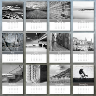 2019 Black and White photo calendar 5x7 month per page