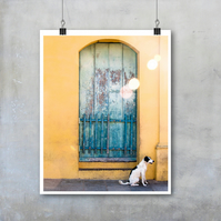 White and Black Dog in front of colourful house Cuba Travel Photography Print