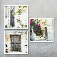 Set of Three Greek Village Houses Prints.  Travel Photography