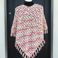Classic crochet poncho with fringe