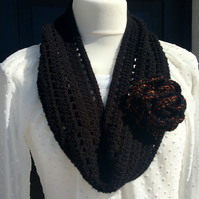 Crochet Black Cowl with Sparkly Flower