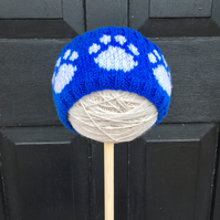 Knitted Paw Print Headband, Earwarmers (Blue & White)