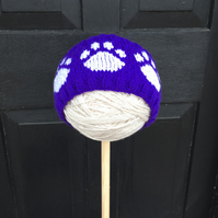 Knitted Paw Print Headband, Earwarmer (Purple & White)