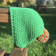 Green Crochet Beanie Hat with Pom Pom