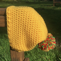 Sunshine Yellow Crochet Beanie Hat with Pom Pom