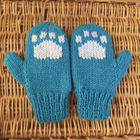 Children's Knitted Paw Print Mittens (blue)