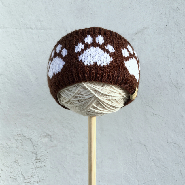 Knitted Paw Print Headband, Earwarmer (Brown & White)