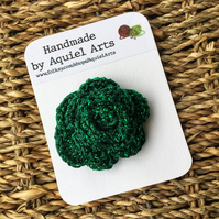 Green Rose Crochet Brooch