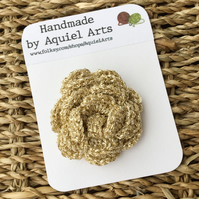 Champagne Rose Flower Crochet Brooch