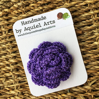 Purple Rose Crochet Brooch