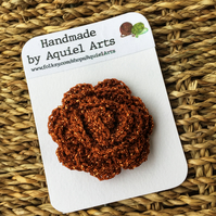 Bronze Rose Crochet Brooch
