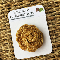 Gold Rose Crochet Brooch