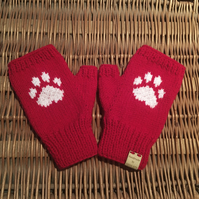 Knitted Paw Print Fingerless Mittens (Red)