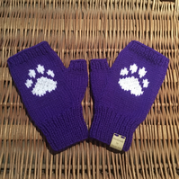 Knitted Paw Print Fingerless Mittens (Purple)