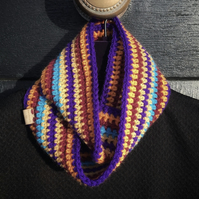 Crochet Cowl Neckwarmer (Purple, Orange, Burgundy)